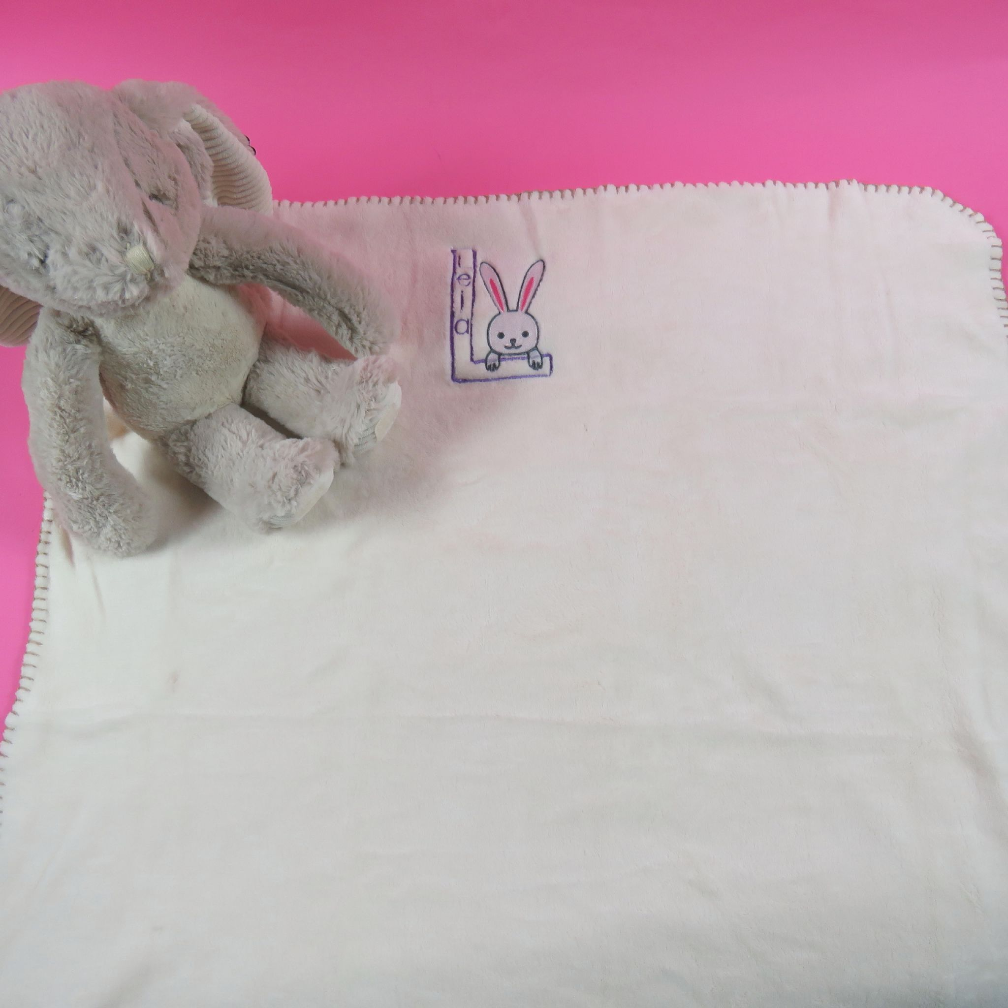 Rabbit soft toy and blanket embroidered new born baby gift bunny personalised rabbit soft toy and blanket embroidered new born baby gift bunny easter present persona negle Gallery